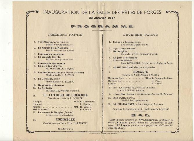 1927 Inauguration Forges