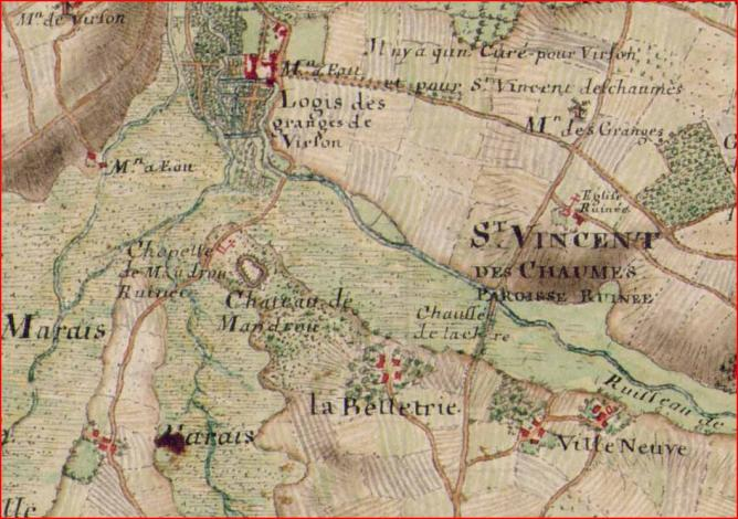 Carte chapelle et chateau mandroux forges masse 1720