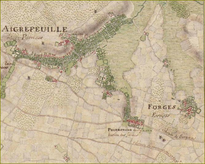 Carte masse aigre forges puydrouard 1703